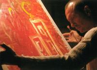 biagio antonacci dipinge per il calendario natalizio mutilati di guerra, tutto con la lingua